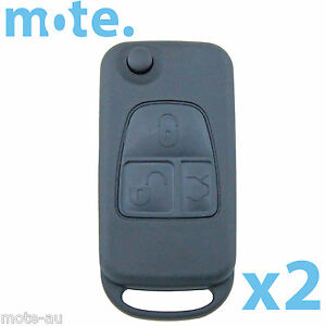 2 X To Suit Mercedes benz Button Remote Flip Key Blank Replacement Shell case