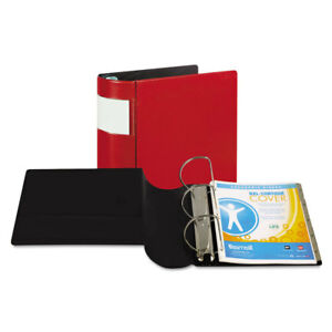 Dxl Heavy duty Locking D ring Binder With Label Holder 5 Capacity Red