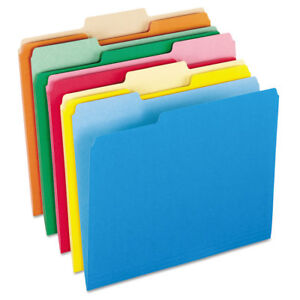 Colored File Folders 1 3 Cut Top Tab Letter Assorted Colors 100 box