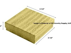 Wholesale 500 Gold Cotton Fill Jewelry Packaging Gift Boxes 3 1 2 X 3 1 2 X 1