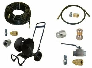 Sewer Jetter Cleaner Kit Ball Valve 200 X 1 4 Hose Reel And Nozzles