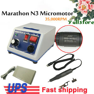 Usa Dental Lab Marathon 35k Rpm Handpiece Electric Micro Motor N3 2 35mm Bur
