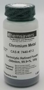 Chromium Metal Electrolytic Refined Powder 150mkm 99 9 100g
