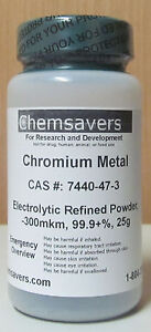 Chromium Metal Electrolytic Refined Powder 300mkm 99 9 25g