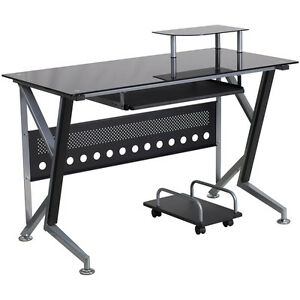 Black Glass Computer Desk With Pull out Keyboard Tray And Cpu Cart Office Desk