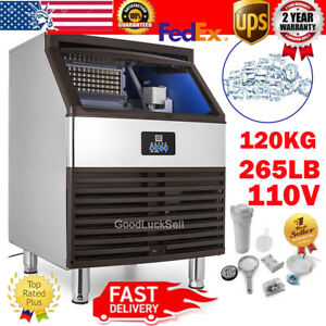265lbs 120kg Auto Commercial Ice Cube Maker Machine Stainless Steel Bar 110v Usa
