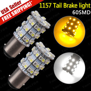 2x 1157 60smd Dual Color Switchback White Amber Tail Brake Signal Led Light Bulb