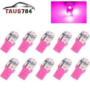 10 X Purple Pink Led T10 194 158 168 5 smd License Plate Map Dome Light Bulb