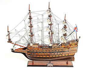 Hms Sovereign Of The Seas 1637 Tall Ship 29 Built Wood Model Sailboat Assembled