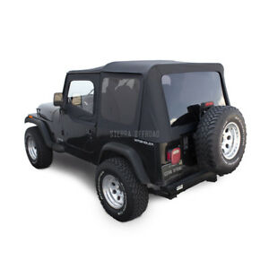 Jeep Wrangler Yj Soft Top 88 95 Upper Doors Tinted Windows Black Sailcloth