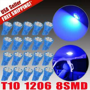20x Ultra Blue T10 8smd Led Interior Bulbs Instrument Panel Dome Map Light 194