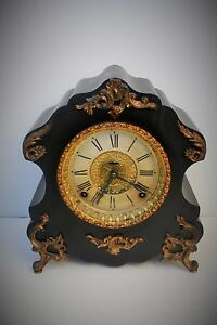 Antique Wood Frame Clock With Dore Appliques