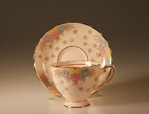 Tuscan China Pink Footed Cup And Saucer Pattern 6457 H Made In England