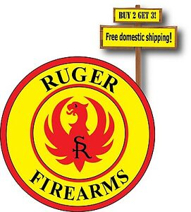 Ruger Yellow And Red Printed Sticker Decal Pistol Nra Gun Rights Handgun P45