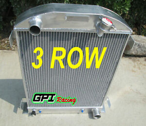 3row For 1932 Ford Hi boy Grill Shells Chevy Engine All Aluminum Radiator New 32
