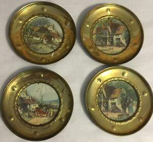 Lot Of 4 Vintage Foil Matching Pictures Brass Frames 6 England Wall Plates