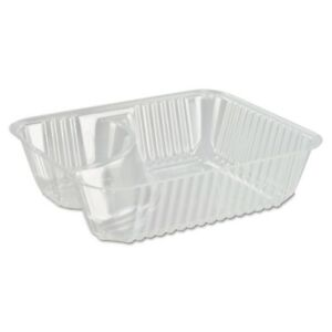Dart Clearpac Small Nacho Tray 2 compartments Clear 125 bag Dcc C56nt2
