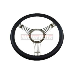 14 Banjo Billet Chrome Aluminum Steering Wheel Half Wrap Black Leather Chevy Gm