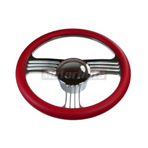 Red Leather Slash Camaro Hot Rod Steering Wheel Chrome Aluminum Horn Adapter