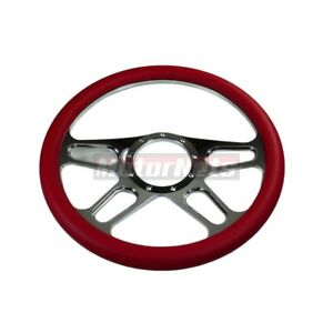 Red 4 Slot Camaro Nova Hot Rod Chrome Aluminum 9 Hole Steering Wheel Chevy Gm