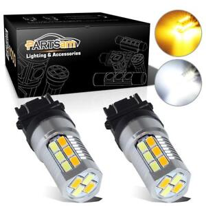 2pcs Amber White Super Bright Led Bulbs Switchback 3157 Front Turn Signal Light