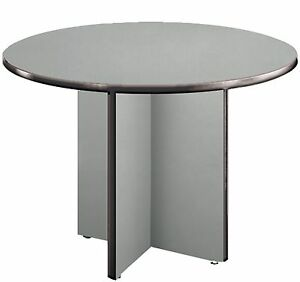 42 Round Conference Table With High pressure Laminate Surface And Gray Finish