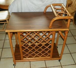 Mid Century Rattan Walnut Wine Cart Tea Cart T122