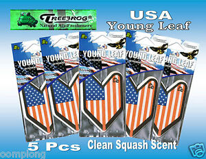 5 Pcs Treefrog Usa Young Leaf Car Air Freshener Clean Squash Scent jdm