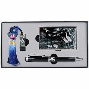 Business Card Case 8gusb Ball Pen Mother Of Pearl Gift Set Made Korea Hus8002