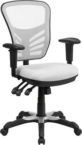 Mid back White Mesh Office Chair With Triple Paddle Control Task Chair