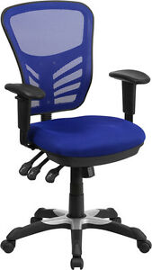Mid back Blue Mesh Office Chair With Triple Paddle Control Task Chair