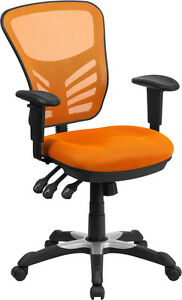 Mid back Orange Mesh Office Chair With Triple Paddle Control Task Chair