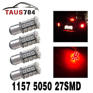4x Red Bay15d 1157 27 Smd 5050 Led Light Bulbs Turn Signal Tail Brake Stop 12v