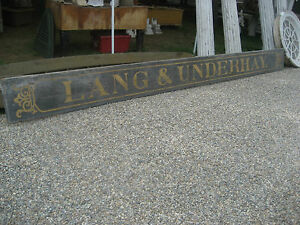 C1870 Antique Southern Maine Sign Black Sand Gold Lettering Lang