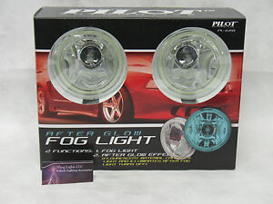 4 Round Blue Glow Angel Eye Halo Fog Lights Universal 55 Watt Halogen Lamps Kit