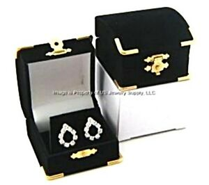 6 Black Velvet Brass Accent Earring Jewelry Display Presentation Gift Boxes
