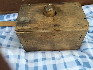 Primitive Wooden Butter Stamp Press Mold Dovetail