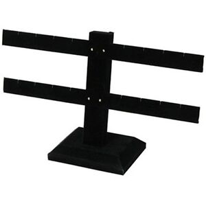 2 Tier Double Bar Black Earring Display Stand 10 1 4 w X 6 1 2 h