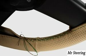 Beige Perforated Leather Steering Wheel Cover Green Stitch For Toyota Prius Ii