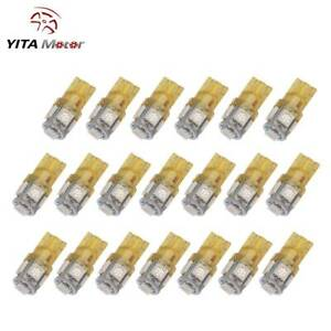 20x T10 194 168 2825 5 Led Amber Yellow Instrument Lights Lamp Bulbs 5050 Smd