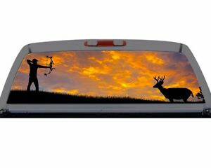 Bow Hunting Buck Deer Rack Rear Window Graphic Truck Suv Perf Perferation