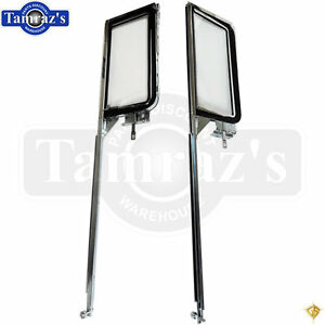 55 57 Chevy Hardtop Door Vent Glass Wing Window Frame Assembly Pair