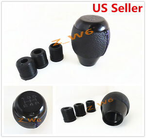 Universal Black Leather 5 Speed Si Manual Shifter Shift Knob W Purple Stitching