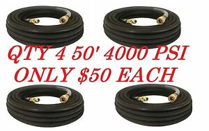 4 pressure Washer Hose 50 W Couplers 4000 Psi Black Wire Braid Free Shipping