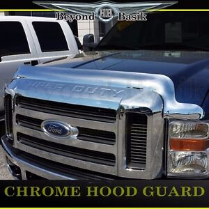 2008 2009 2010 Ford Super Duty Chrome Bug Shield Deflector Hood Guard Protector