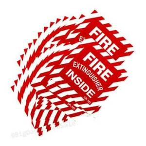 50 Signs Fire Extinguisher Inside 4 x4 Self Adhesive Vinyl Signs