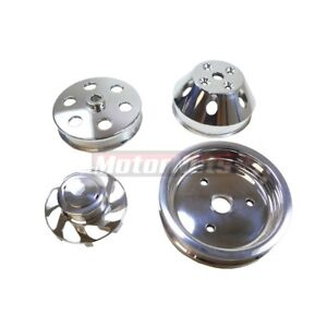 Small Block Chevy Sbc Billet Aluminum Serpentine Pulley Short Water Pump Crank