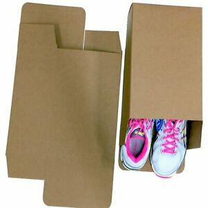 25 Large Shoe Box Reverse Tuck Cartons 13x8x5 Kraft Brown Folding Chipboard