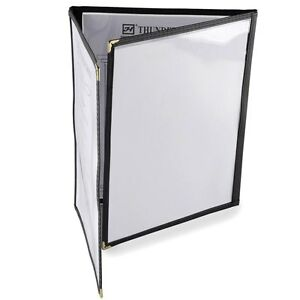 30 Piece 8 1 2 X 11 Three Pocket Clear Fold Over Menu Cover Black