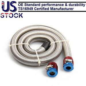 Engine Stainless Steel Flex Braid Fuel Line Kit 3 8 I d hose Two Blue Clamps
